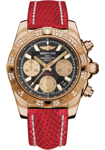 Breitling Watches - Chronomat 41 Rose Gold Diamond Bezel - Lizard Strap - Deployant - Style No: HB0140AA/BA53-lizard-red-deployant