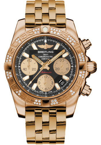 Breitling Watches - Chronomat 41 Rose Gold Diamond Bezel - Pilot Bracelet - Style No: HB0140AA/BA53-pilot-rose-gold