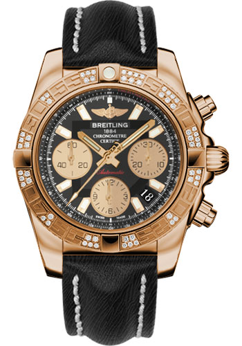 Breitling Watches - Chronomat 41 Rose Gold Diamond Bezel - Sahara Leather Strap - Style No: HB0140AA/BA53-sahara-black-tang