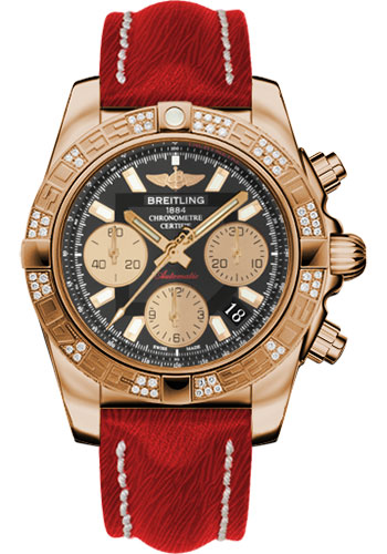Breitling Watches - Chronomat 41 Rose Gold Diamond Bezel - Sahara Leather Strap - Style No: HB0140AA/BA53-sahara-red-tang