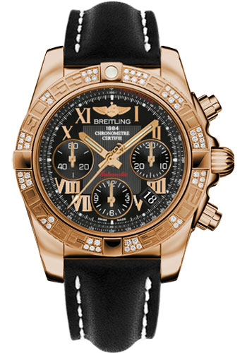 Breitling Watches - Chronomat 41 Rose Gold Diamond Bezel - Leather Strap - Tang - Style No: HB0140AA/BC08-leather-black-tang