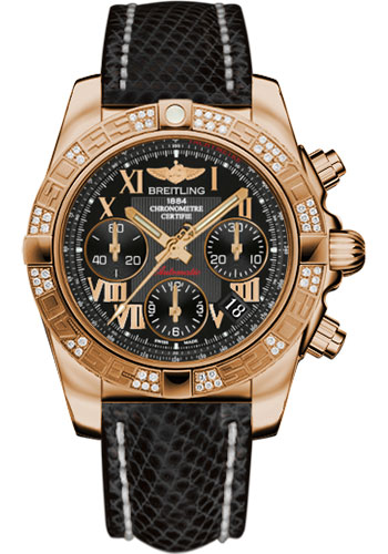 Breitling Watches - Chronomat 41 Rose Gold Diamond Bezel - Lizard Strap - Tang - Style No: HB0140AA/BC08-lizard-black-tang