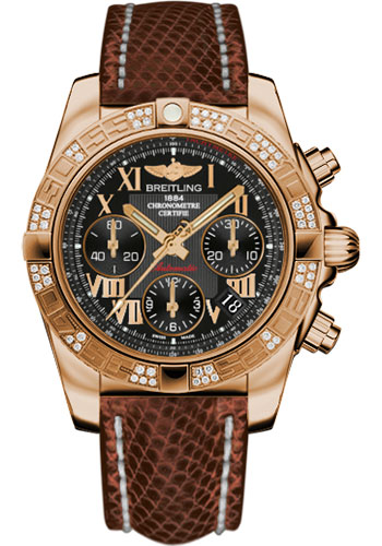 Breitling Watches - Chronomat 41 Rose Gold Diamond Bezel - Lizard Strap - Tang - Style No: HB0140AA/BC08-lizard-brown-tang