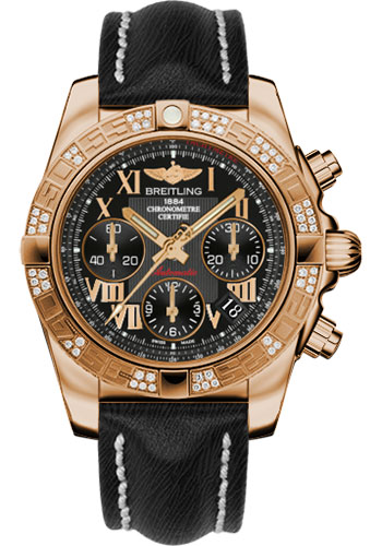 Breitling Watches - Chronomat 41 Rose Gold Diamond Bezel - Sahara Leather Strap - Style No: HB0140AA/BC08-sahara-black-tang
