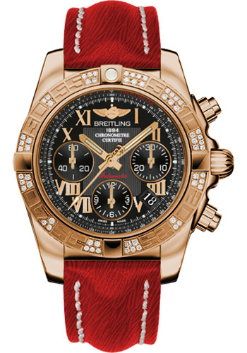 Breitling Watches - Chronomat 41 Rose Gold Diamond Bezel - Sahara Leather Strap - Style No: HB0140AA/BC08-sahara-red-tang