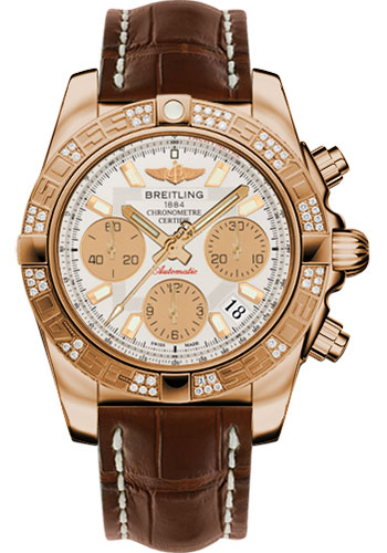 Breitling Watches - Chronomat 41 Rose Gold Diamond Bezel - Croco Strap - Deployant - Style No: HB0140AA/G713-croco-brown-deployant