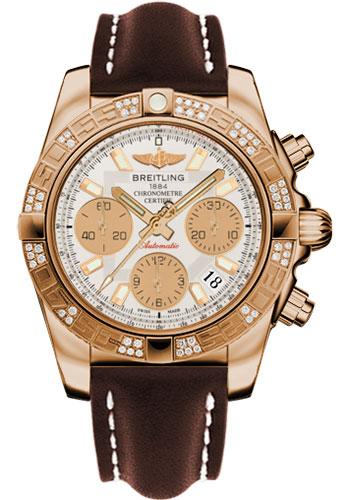 Breitling Watches - Chronomat 41 Rose Gold Diamond Bezel - Leather Strap - Tang - Style No: HB0140AA/G713-leather-brown-tang