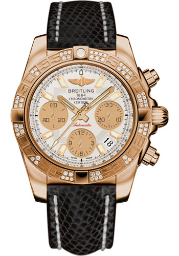 Breitling Watches - Chronomat 41 Rose Gold Diamond Bezel - Lizard Strap - Deployant - Style No: HB0140AA/G713-lizard-black-deployant