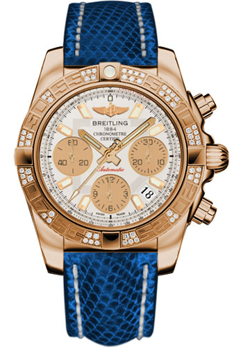 Breitling Watches - Chronomat 41 Rose Gold Diamond Bezel - Lizard Strap - Deployant - Style No: HB0140AA/G713-lizard-blue-marine-deployant