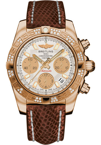 Breitling Watches - Chronomat 41 Rose Gold Diamond Bezel - Lizard Strap - Deployant - Style No: HB0140AA/G713-lizard-brown-deployant