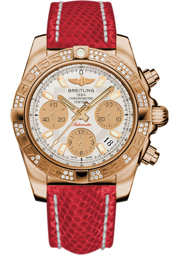 Breitling Watches - Chronomat 41 Rose Gold Diamond Bezel - Lizard Strap - Tang - Style No: HB0140AA/G713-lizard-red-tang