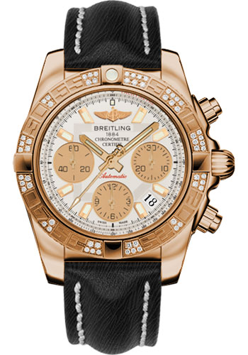 Breitling Watches - Chronomat 41 Rose Gold Diamond Bezel - Sahara Leather Strap - Style No: HB0140AA/G713-sahara-black-tang