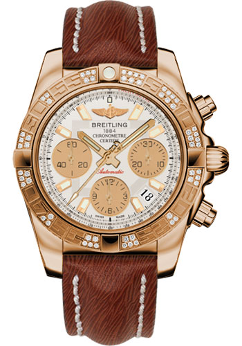Breitling Watches - Chronomat 41 Rose Gold Diamond Bezel - Sahara Leather Strap - Style No: HB0140AA/G713-sahara-brown-tang