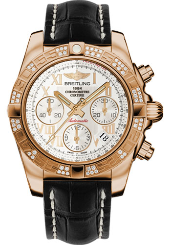 Breitling Watches - Chronomat 41 Rose Gold Diamond Bezel - Croco Strap - Tang - Style No: HB0140AA/G759-croco-black-tang