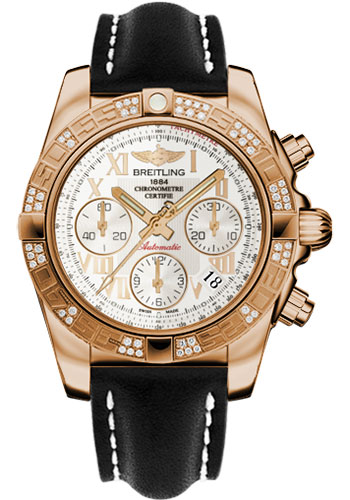 Breitling Watches - Chronomat 41 Rose Gold Diamond Bezel - Leather Strap - Tang - Style No: HB0140AA/G759-leather-black-tang