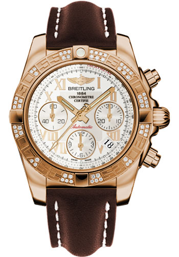 Breitling Watches - Chronomat 41 Rose Gold Diamond Bezel - Leather Strap - Tang - Style No: HB0140AA/G759-leather-brown-tang