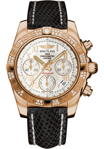 Breitling Watches - Chronomat 41 Rose Gold Diamond Bezel - Lizard Strap - Tang - Style No: HB0140AA/G759-lizard-black-tang
