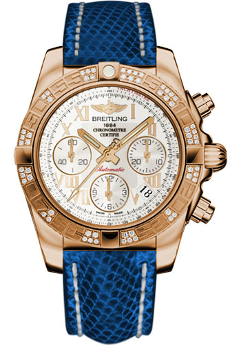Breitling Watches - Chronomat 41 Rose Gold Diamond Bezel - Lizard Strap - Deployant - Style No: HB0140AA/G759-lizard-blue-marine-deployant