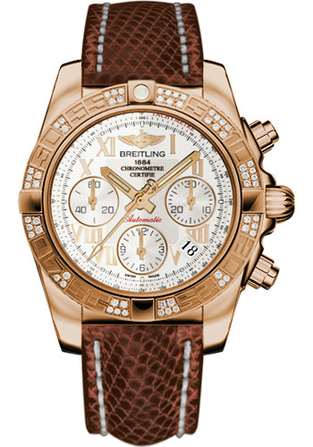 Breitling Watches - Chronomat 41 Rose Gold Diamond Bezel - Lizard Strap - Tang - Style No: HB0140AA/G759-lizard-brown-tang