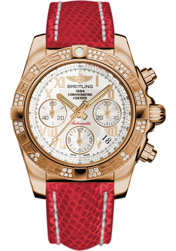 Breitling Watches - Chronomat 41 Rose Gold Diamond Bezel - Lizard Strap - Deployant - Style No: HB0140AA/G759-lizard-red-deployant