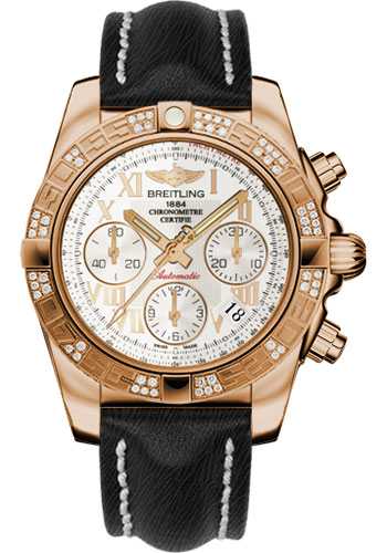 Breitling Watches - Chronomat 41 Rose Gold Diamond Bezel - Sahara Leather Strap - Style No: HB0140AA/G759-sahara-black-tang