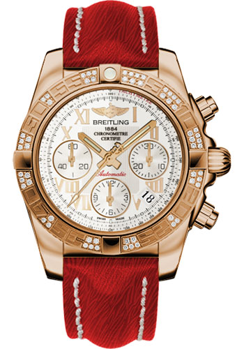 Breitling Watches - Chronomat 41 Rose Gold Diamond Bezel - Sahara Leather Strap - Style No: HB0140AA/G759-sahara-red-tang