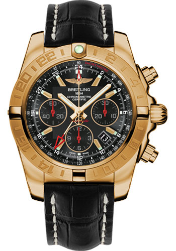 Breitling Watches - Chronomat 44 GMT Rose Gold on Croco Tang - Style No: HB0421L3/BC18-croco-black-tang