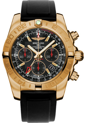 Breitling Watches - Chronomat 44 GMT Rose Gold on Diver Pro II Deployant - Style No: HB0421L3/BC18-diver-pro-ii-black-folding