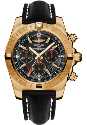 Breitling Watches - Chronomat 44 GMT Rose Gold on Leather Tang - Style No: HB0421L3/BC18-leather-black-tang