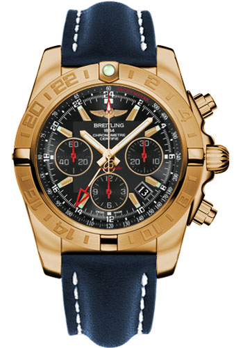 Breitling Watches - Chronomat 44 GMT Rose Gold on Leather Tang - Style No: HB0421L3/BC18-leather-blue-tang