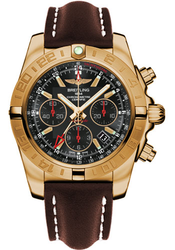 Breitling Watches - Chronomat 44 GMT Rose Gold on Leather Tang - Style No: HB0421L3/BC18-leather-brown-tang