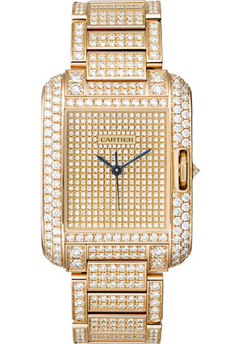 Cartier Watches - Tank Anglaise Pink Gold With Diamonds - Style No: HPI00560