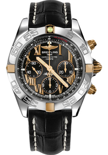 Breitling Watches - Chronomat 44 Two-Tone Polished Bezel - Croco Strap - Tang - Style No: IB011012/B957-croco-black-tang