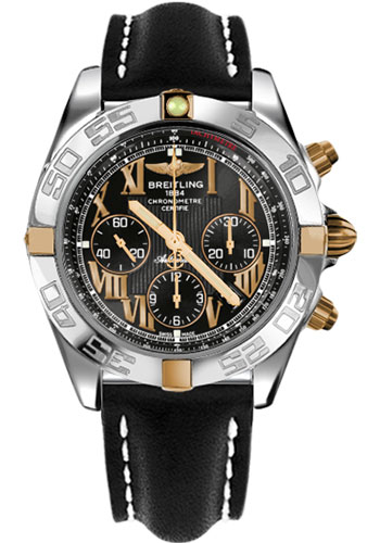 Breitling Watches - Chronomat 44 Two-Tone Polished Bezel - Leather Strap - Tang - Style No: IB011012/B957-leather-black-tang