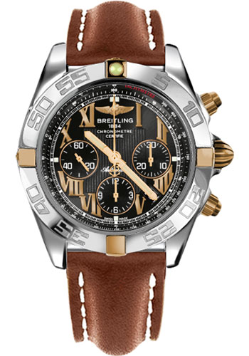Breitling Watches - Chronomat 44 Two-Tone Polished Bezel - Leather Strap - Tang - Style No: IB011012/B957-leather-gold-tang