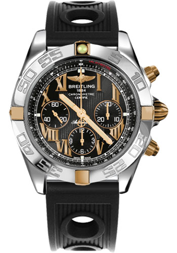 Breitling Watches - Chronomat 44 Two-Tone Polished Bezel - Ocean Racer Strap - Deployant - Style No: IB011012/B957-ocean-racer-black-deployant
