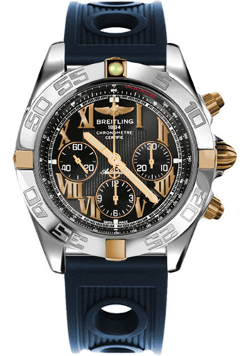 Breitling Watches - Chronomat 44 Two-Tone Polished Bezel - Ocean Racer Strap - Deployant - Style No: IB011012/B957-ocean-racer-blue-deployant