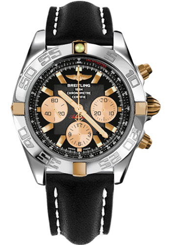Breitling Watches - Chronomat 44 Two-Tone Polished Bezel - Leather Strap - Tang - Style No: IB011012/B968-leather-black-tang