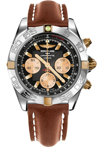 Breitling Watches - Chronomat 44 Two-Tone Polished Bezel - Leather Strap - Tang - Style No: IB011012/B968-leather-gold-tang