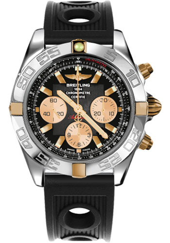 Breitling Watches - Chronomat 44 Two-Tone Polished Bezel - Ocean Racer Strap - Deployant - Style No: IB011012/B968-ocean-racer-black-deployant