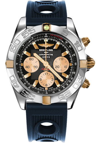 Breitling Watches - Chronomat 44 Two-Tone Polished Bezel - Ocean Racer Strap - Deployant - Style No: IB011012/B968-ocean-racer-blue-deployant