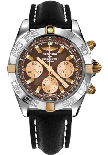 Breitling Watches - Chronomat 44 Two-Tone Polished Bezel - Leather Strap - Tang - Style No: IB011012/Q576-leather-black-tang