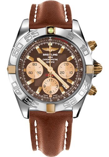 Breitling Watches - Chronomat 44 Two-Tone Polished Bezel - Leather Strap - Tang - Style No: IB011012/Q576-leather-gold-tang