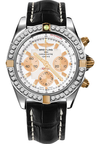 Breitling Watches - Chronomat 44 Two-Tone 40 Dia Bezel - Croco Strap - Deployant - Style No: IB011053/A696-croco-black-deployant