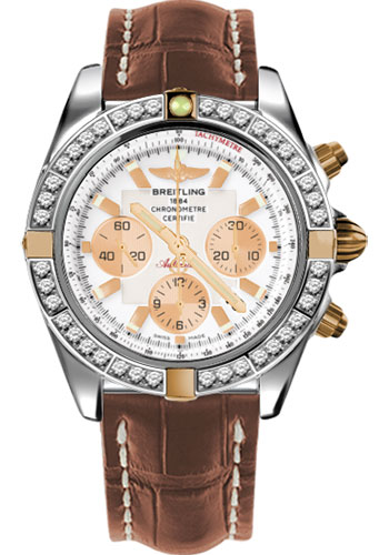 Breitling Watches - Chronomat 44 Two-Tone 40 Dia Bezel - Croco Strap - Deployant - Style No: IB011053/A696-croco-gold-deployant
