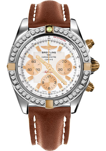 Breitling Watches - Chronomat 44 Two-Tone 40 Dia Bezel - Leather Strap - Tang - Style No: IB011053/A696-leather-gold-tang