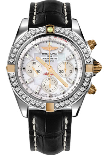 Breitling Watches - Chronomat 44 Two-Tone 40 Dia Bezel - Croco Strap - Deployant - Style No: IB011053/A698-croco-black-deployant