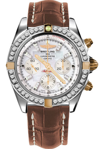 Breitling Watches - Chronomat 44 Two-Tone 40 Dia Bezel - Croco Strap - Deployant - Style No: IB011053/A698-croco-gold-deployant