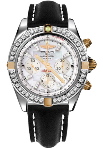 Breitling Watches - Chronomat 44 Two-Tone 40 Dia Bezel - Leather Strap - Tang - Style No: IB011053/A698-leather-black-tang