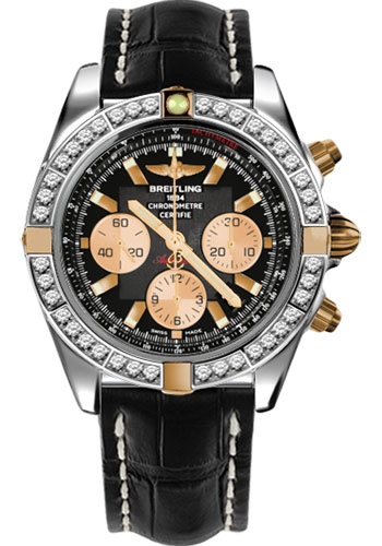 Breitling Watches - Chronomat 44 Two-Tone 40 Dia Bezel - Croco Strap - Deployant - Style No: IB011053/B968-croco-black-deployant